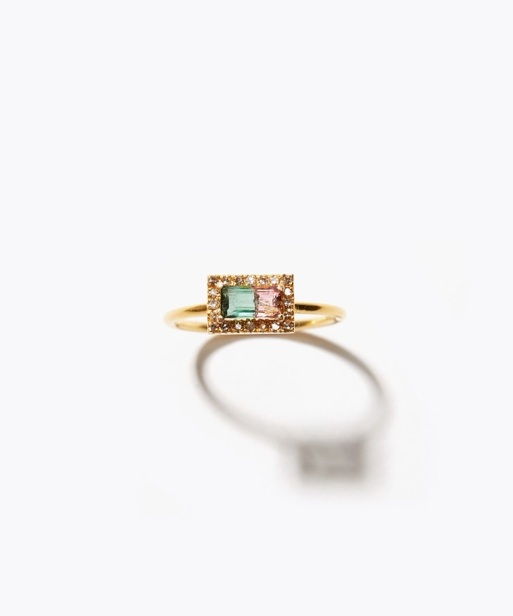 [palais] K18 rectangle bi-color tourmaline pave ring