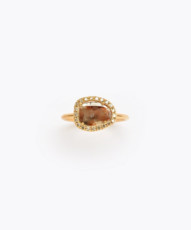 [raw beauty] K18 brown slice diamond pave ring