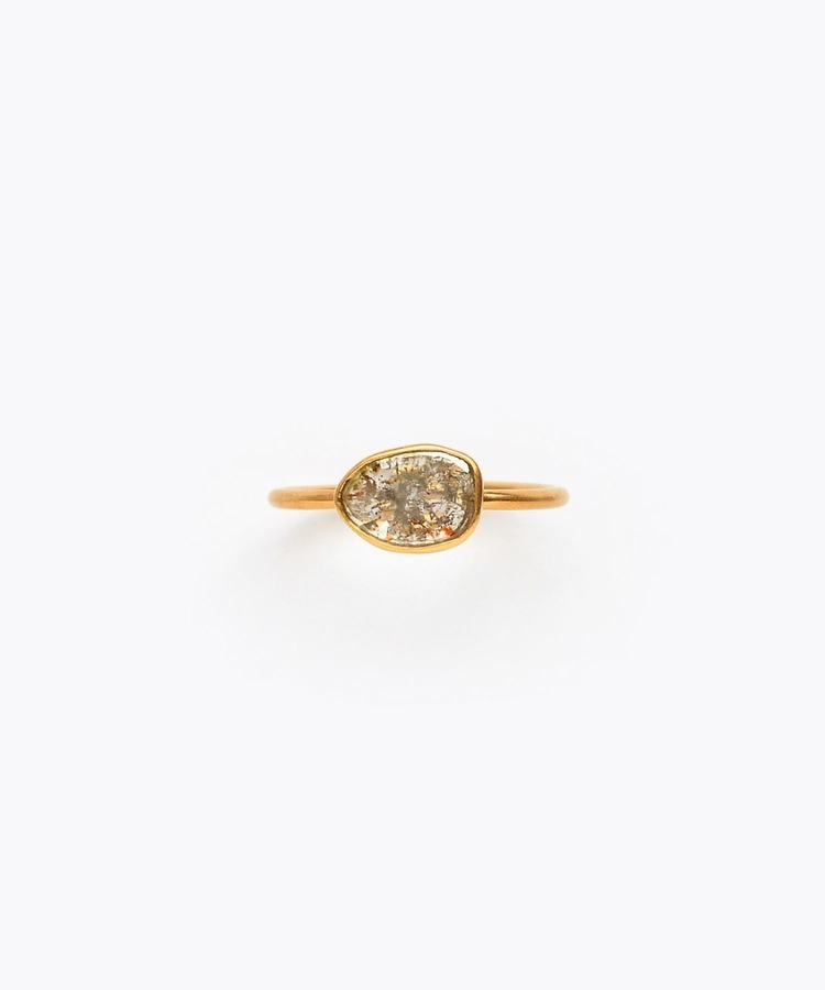 [raw beauty] K18 greyish slice diamond ring