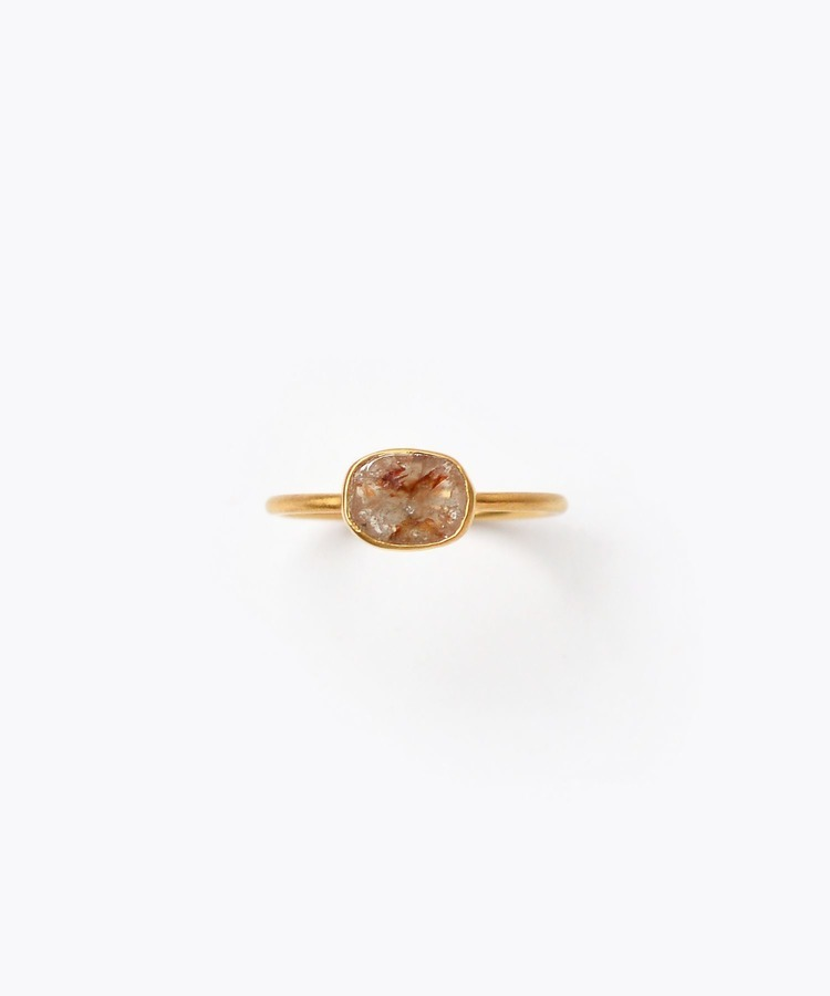 [raw beauty] K18 brown slice diamond ring