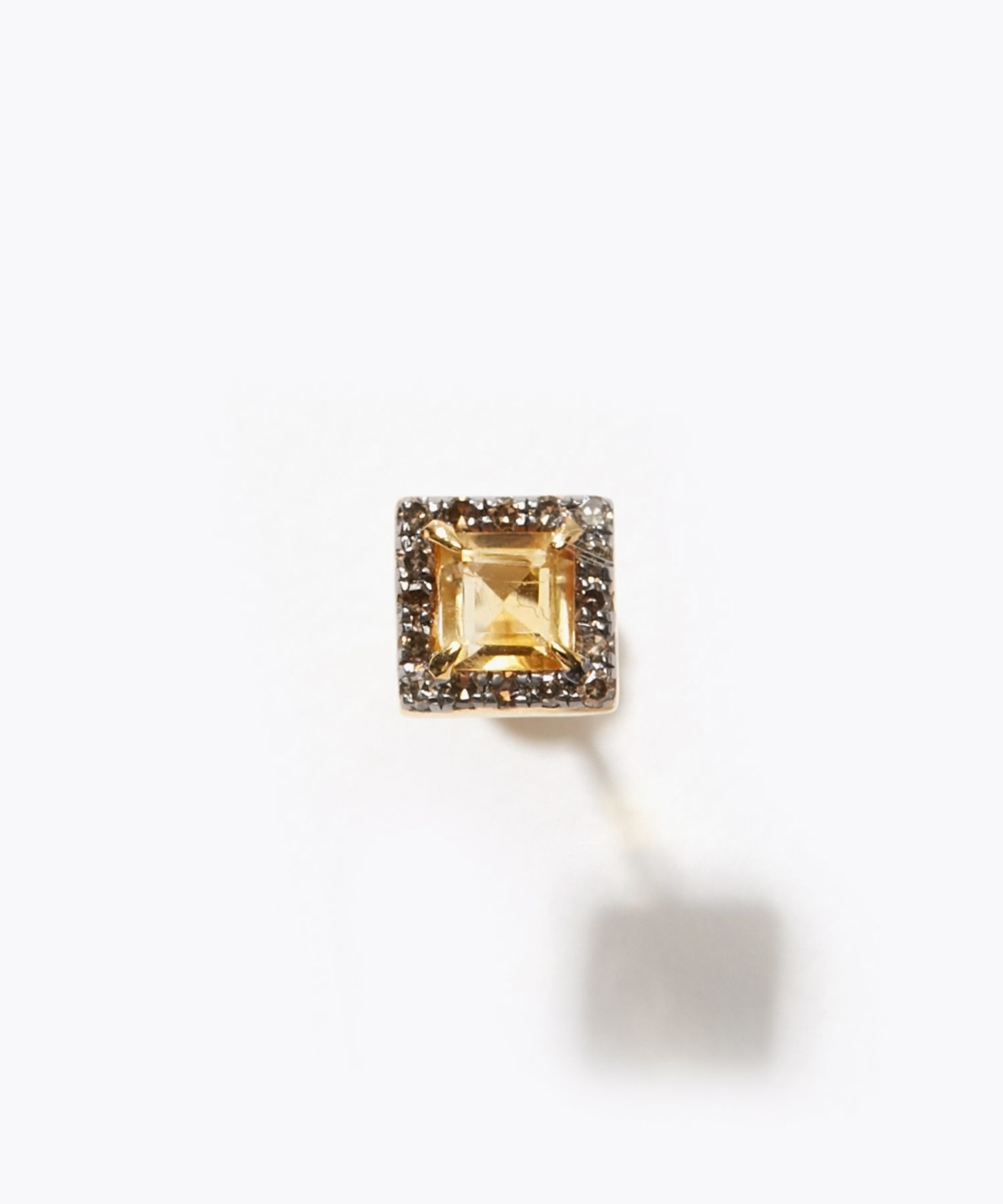 [elafonisi] square citrine pave diamond stud pierced earring