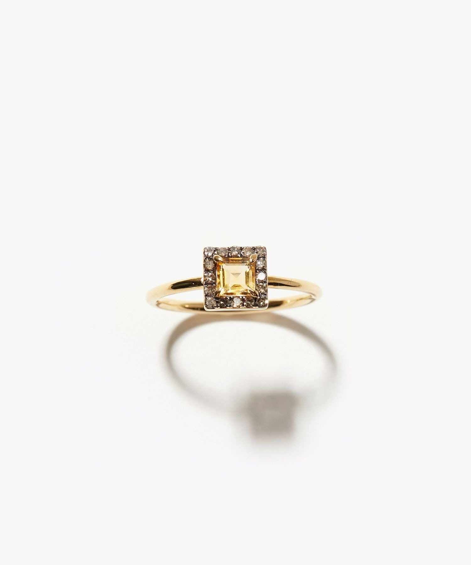 [elafonisi] square citrine pave diamond ring