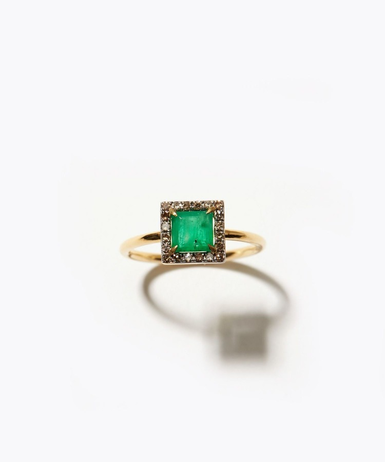 [elafonisi] square emerald pave diamond ring