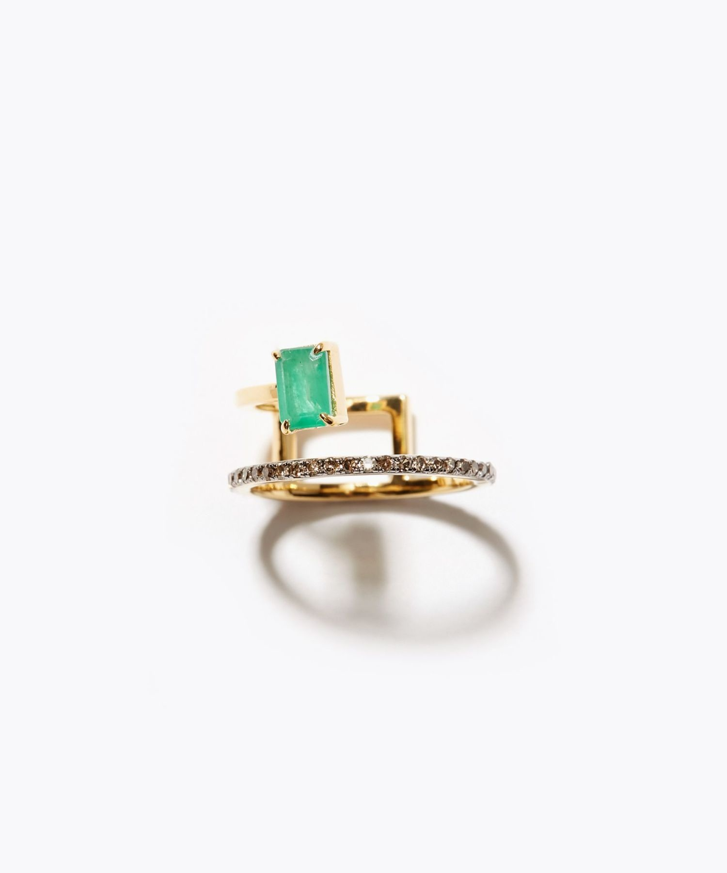 [elafonisi] rectangle emerald pave double open ring