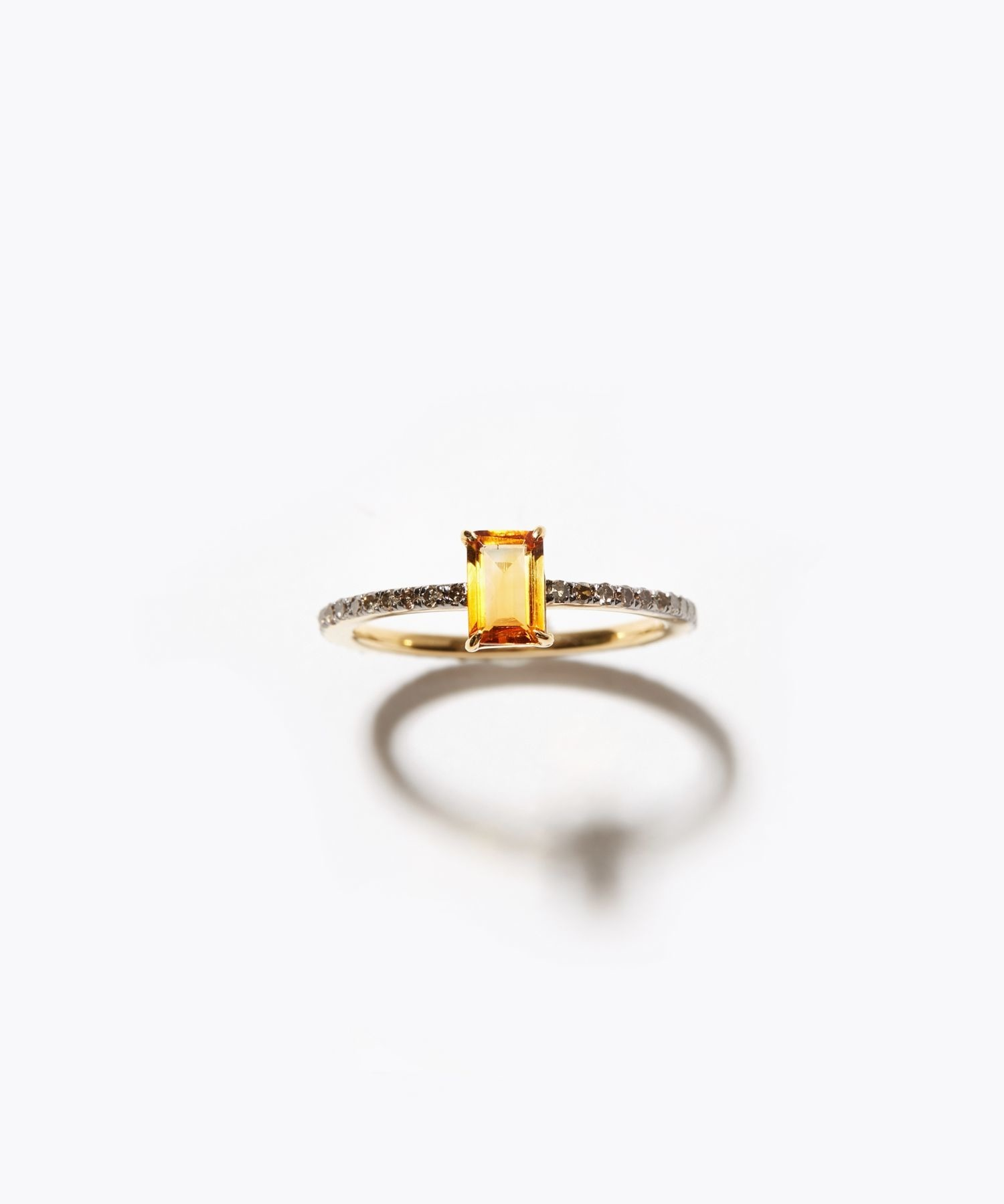[elafonisi] rectangle citrine pave eternity ring