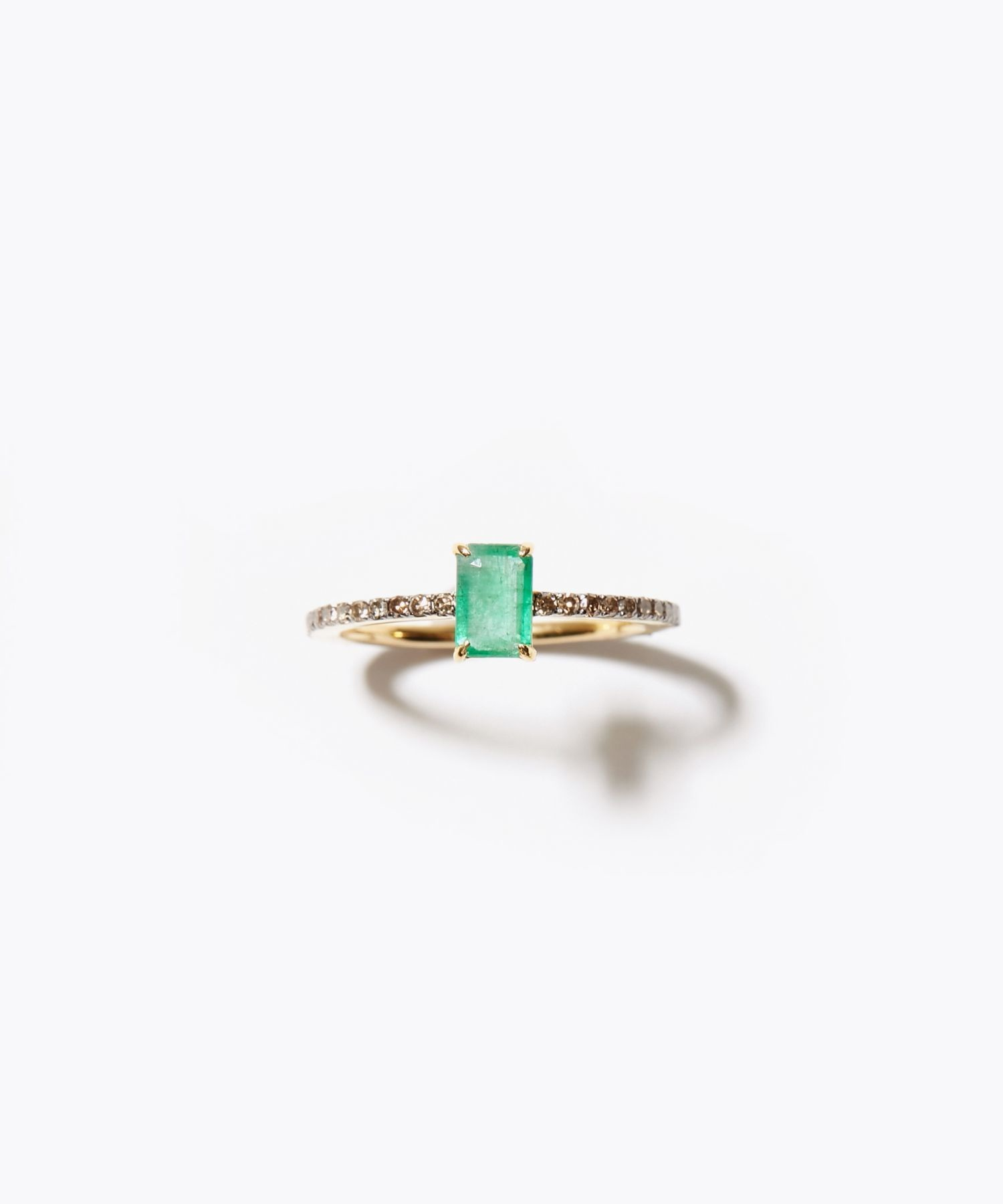 [elafonisi] rectangle emerald pave eternity ring