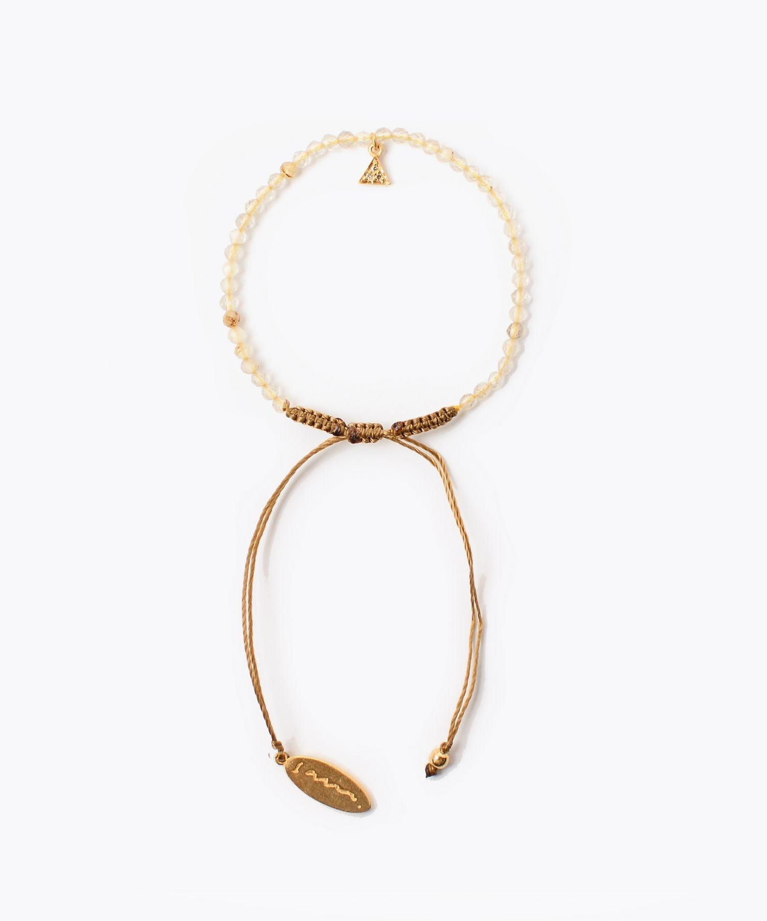 [I am donation] gold rutile pave triangle bracelet