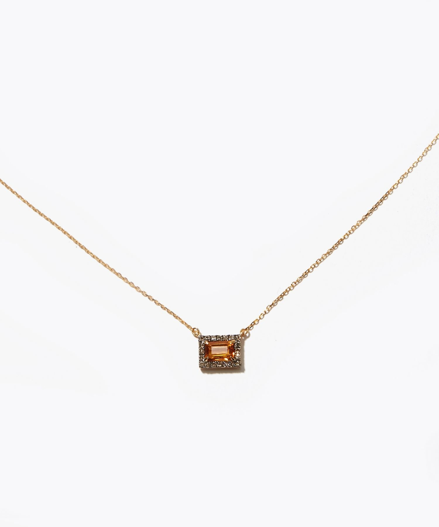[elafonisi] rectangle citrine pave necklace