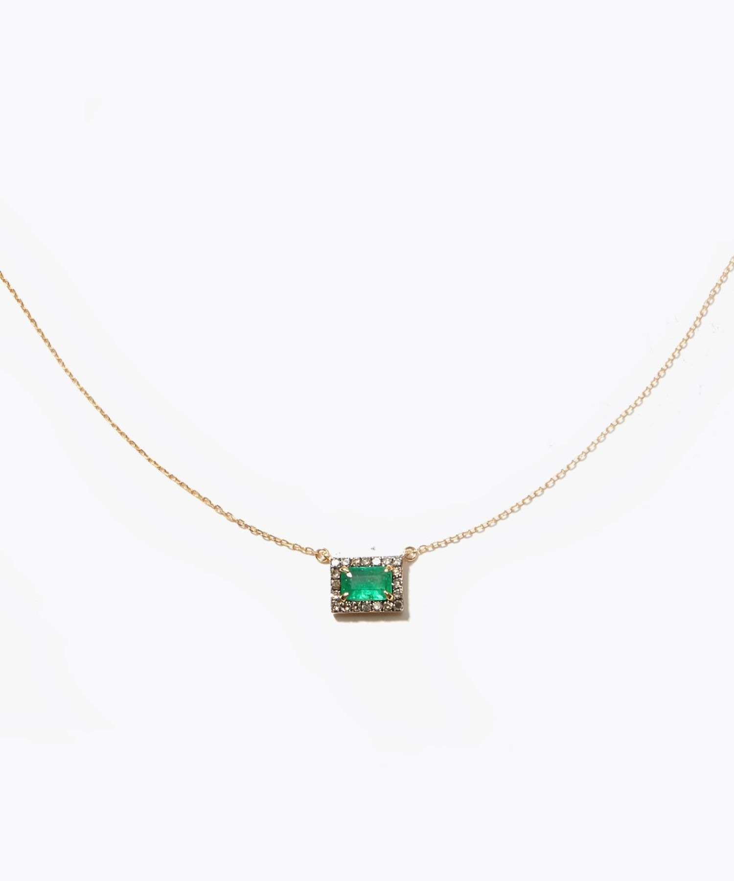 [elafonisi] rectangle emerald pave necklace