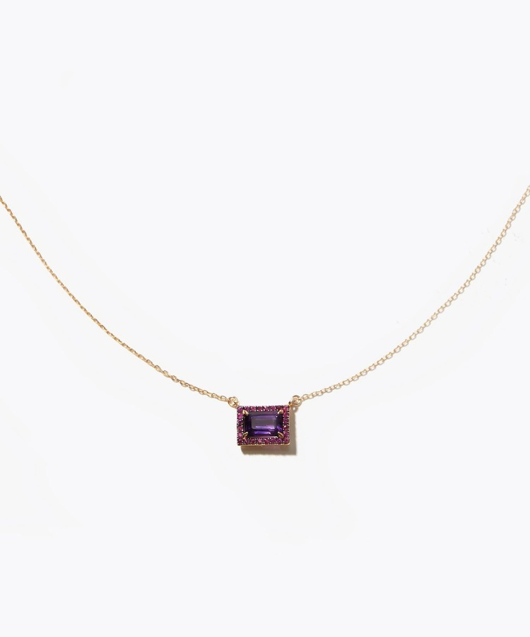 [elafonisi] rectangle amethyst pave ruby necklace