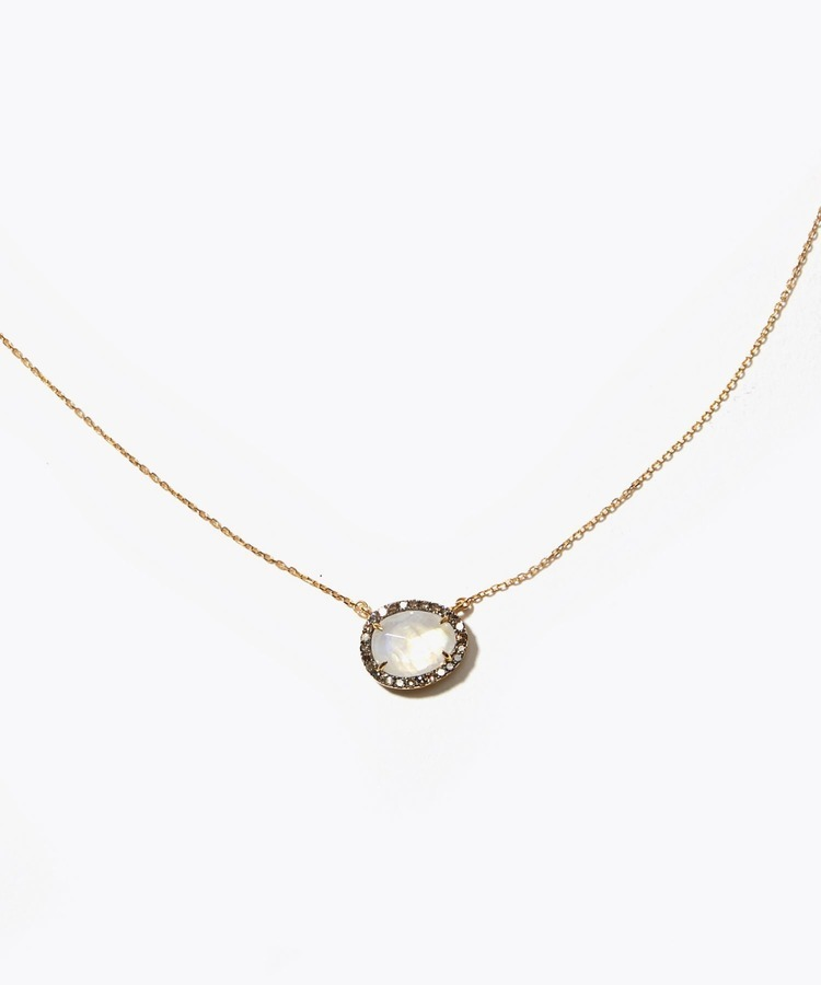 [elafonisi] rainvow moon stone pave necklace