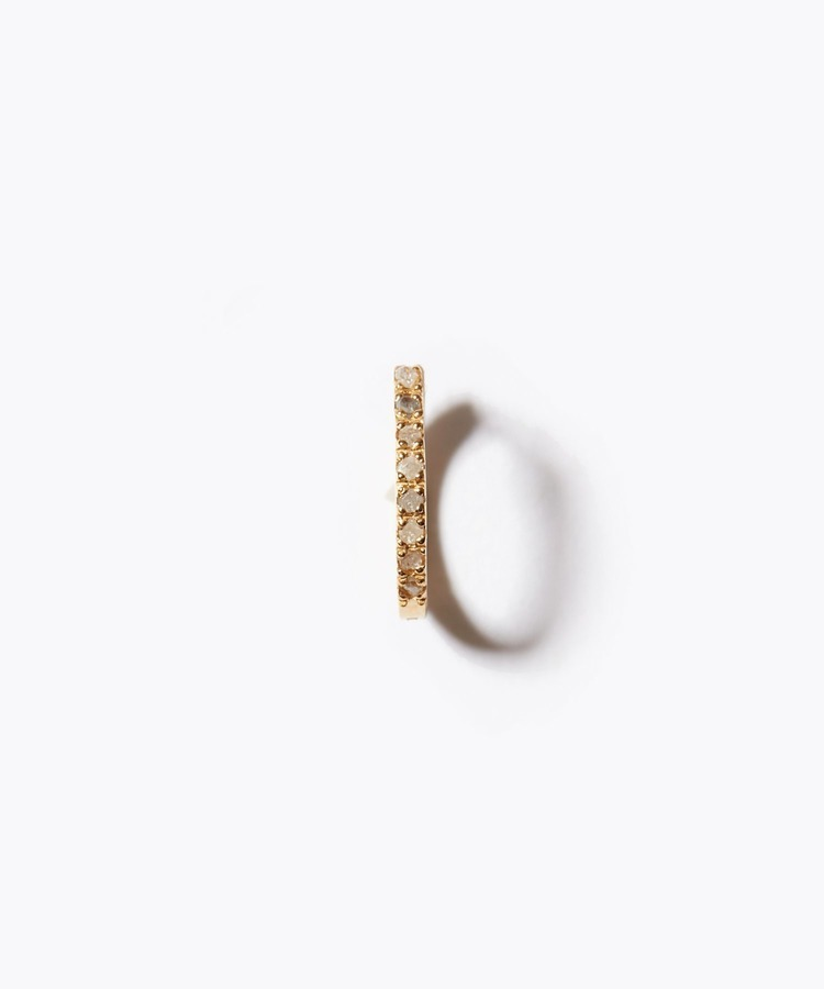 [sirocco] K18 pave diamond mini hoop single pierced earring