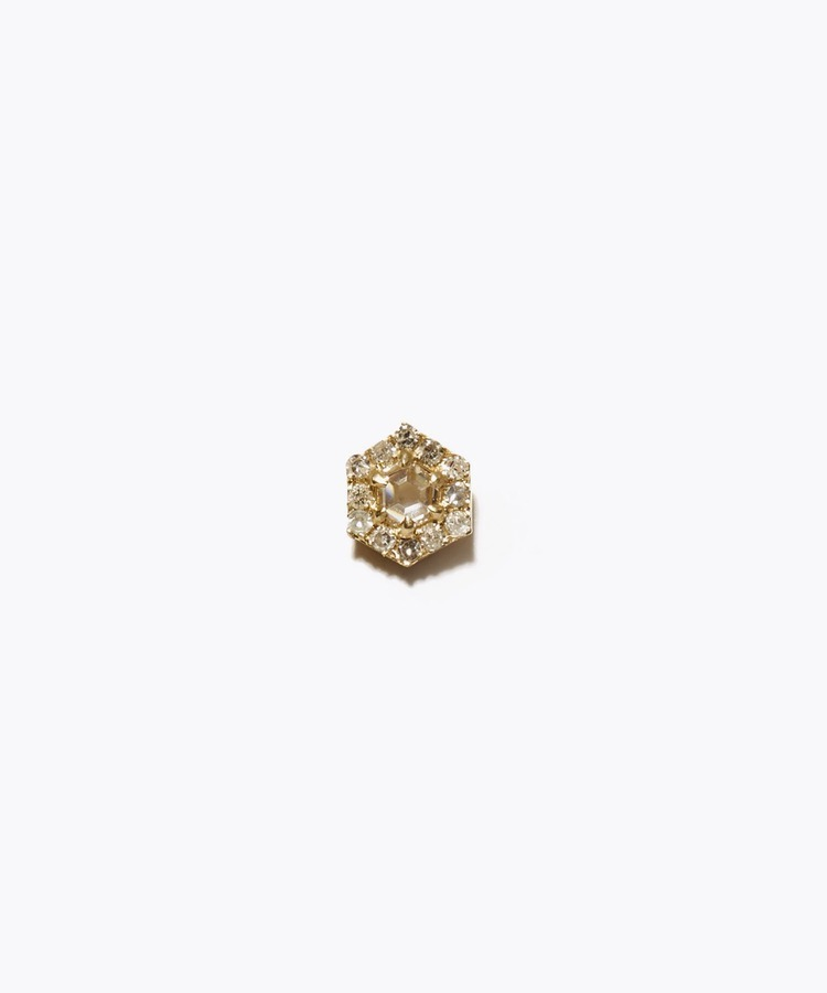 [sirocco] K18 hexagon diamond pave studs single pierced earring