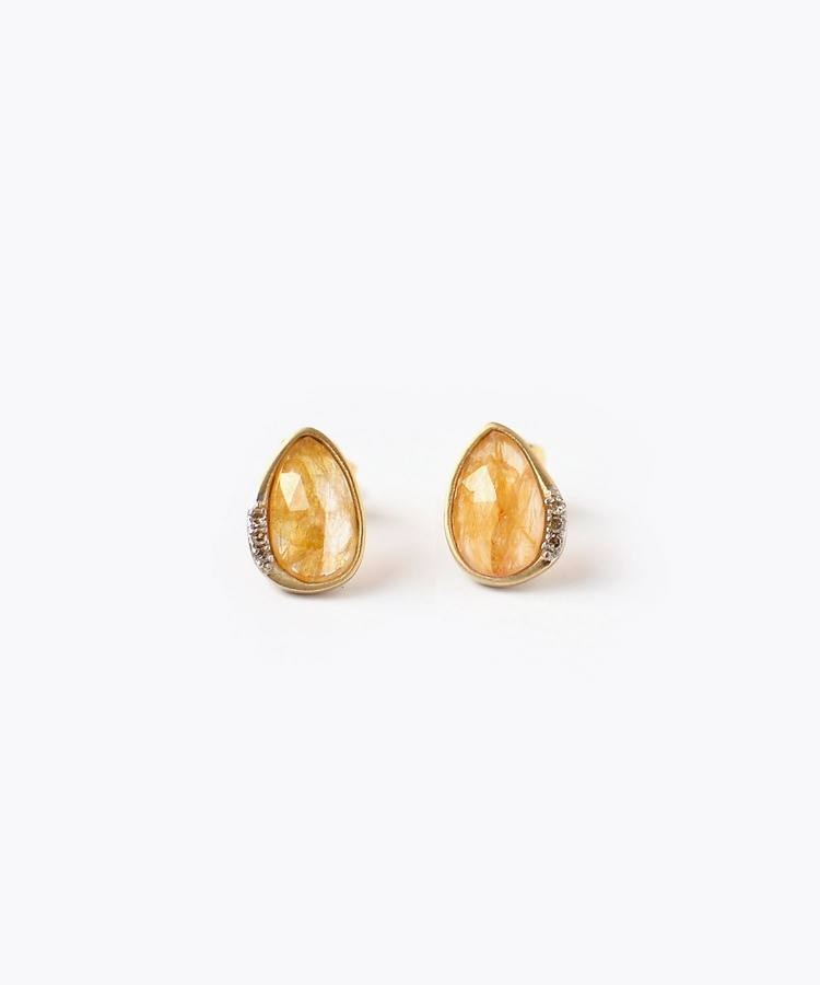 [eutopia] K18 yellow sapphires and diamonds studs pierced earring