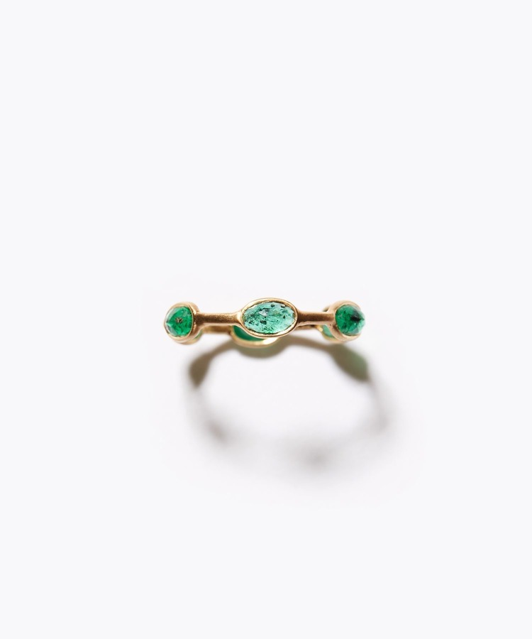 [palais] K18 oval emerald dewdrop ring