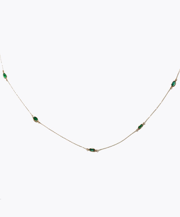 [palais] K18 oval emerald dewdrop necklace