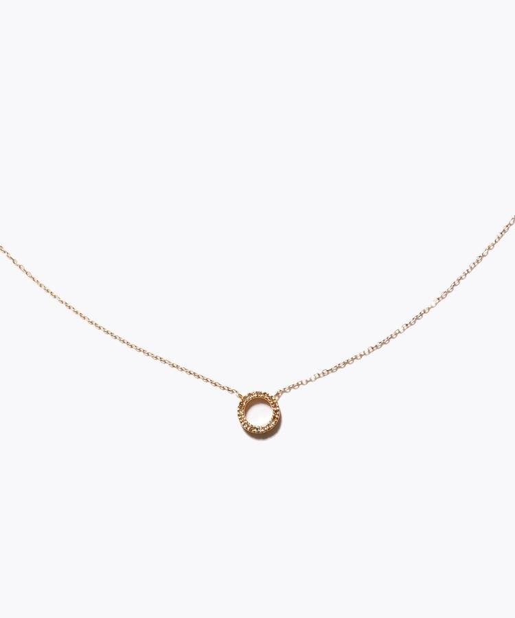 [sirocco] K18 pave diamond mini circle necklace