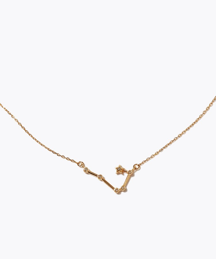 [constellation] aries K10 diamond line necklace