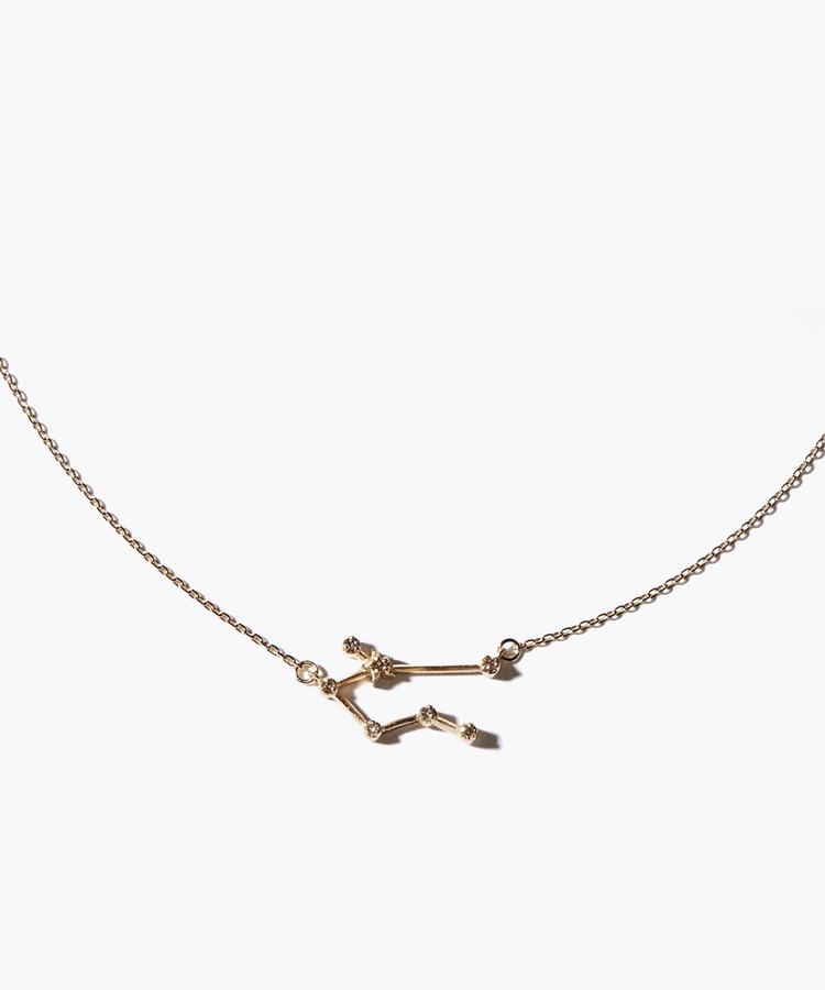[constellation] taurus K10 diamond line necklace