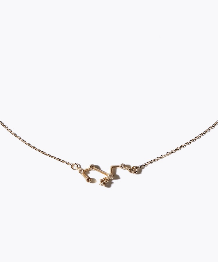 [constellation] leo K10 diamond line necklace