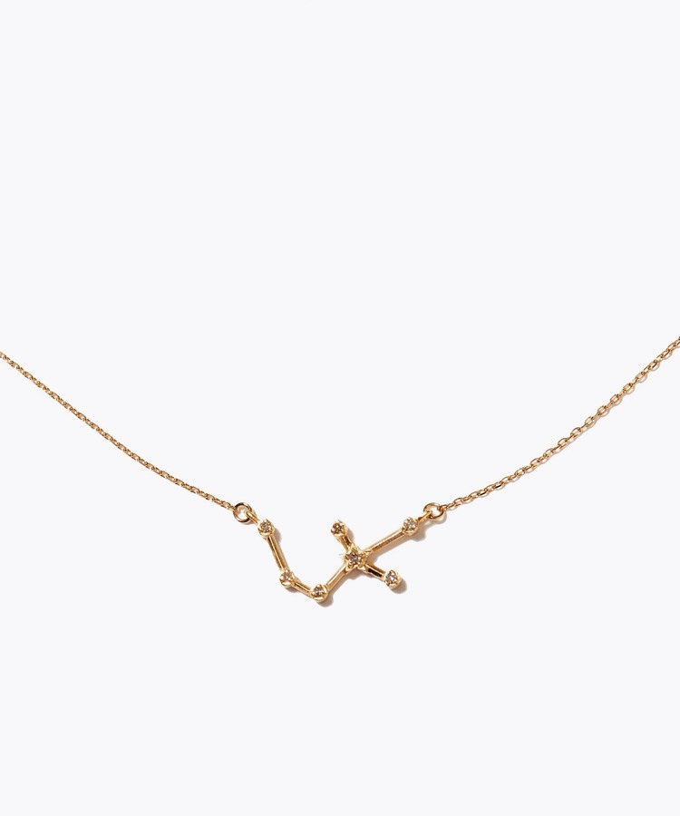 [constellation] sagittarius K10 diamond line necklace