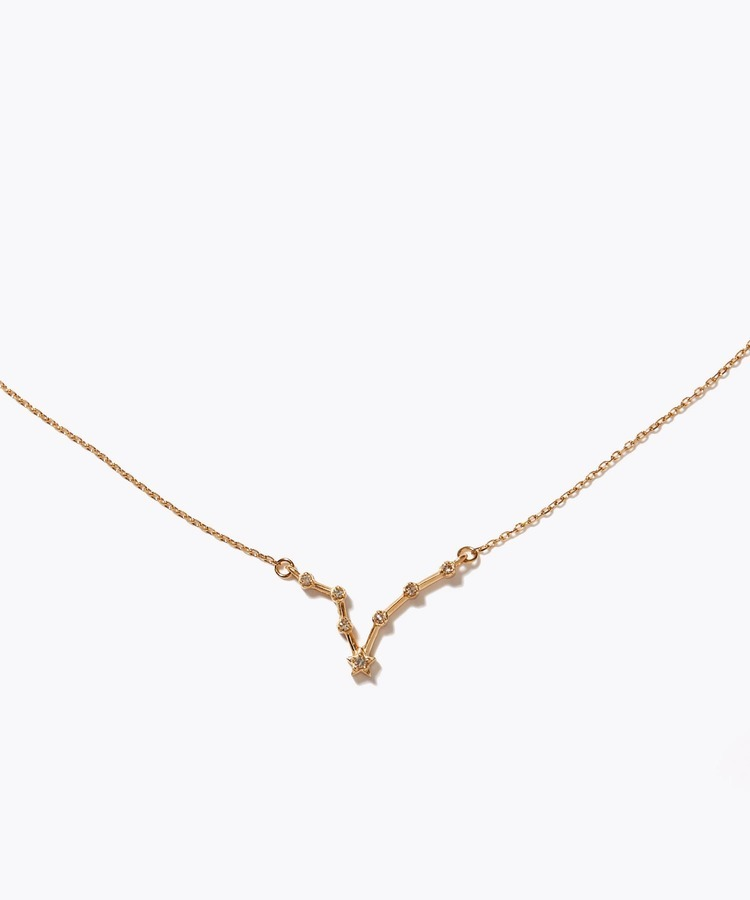 [constellation] pisces K10 diamond line necklace