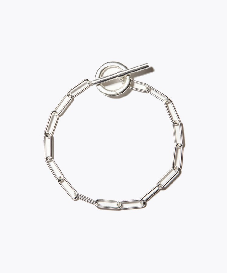 [cord] big cable chain toggle silver bracelet