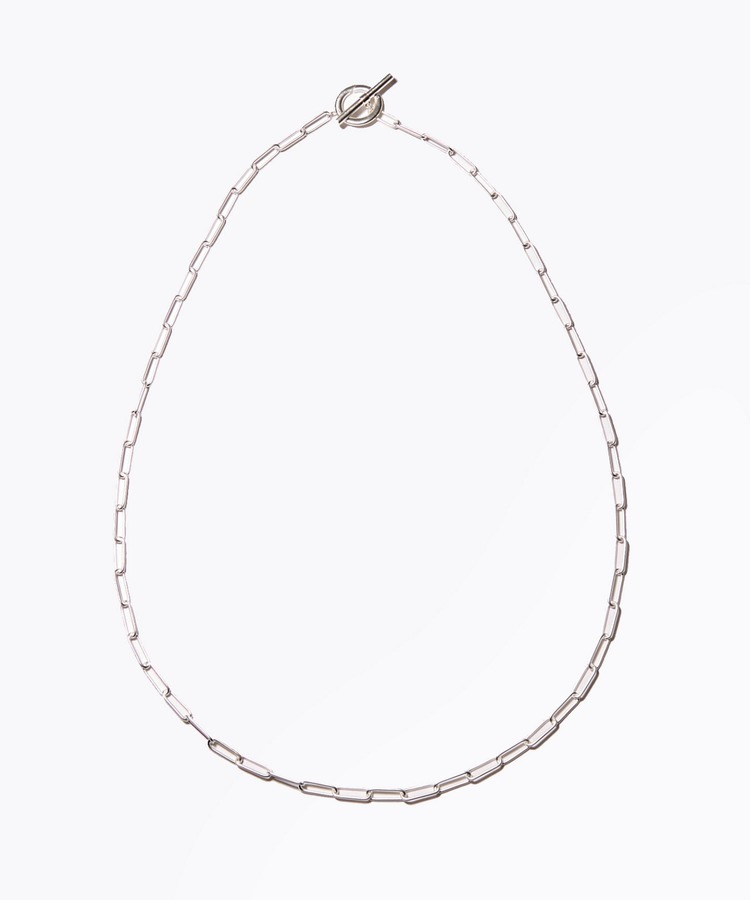 [cord] big cable chain toggle silver necklace