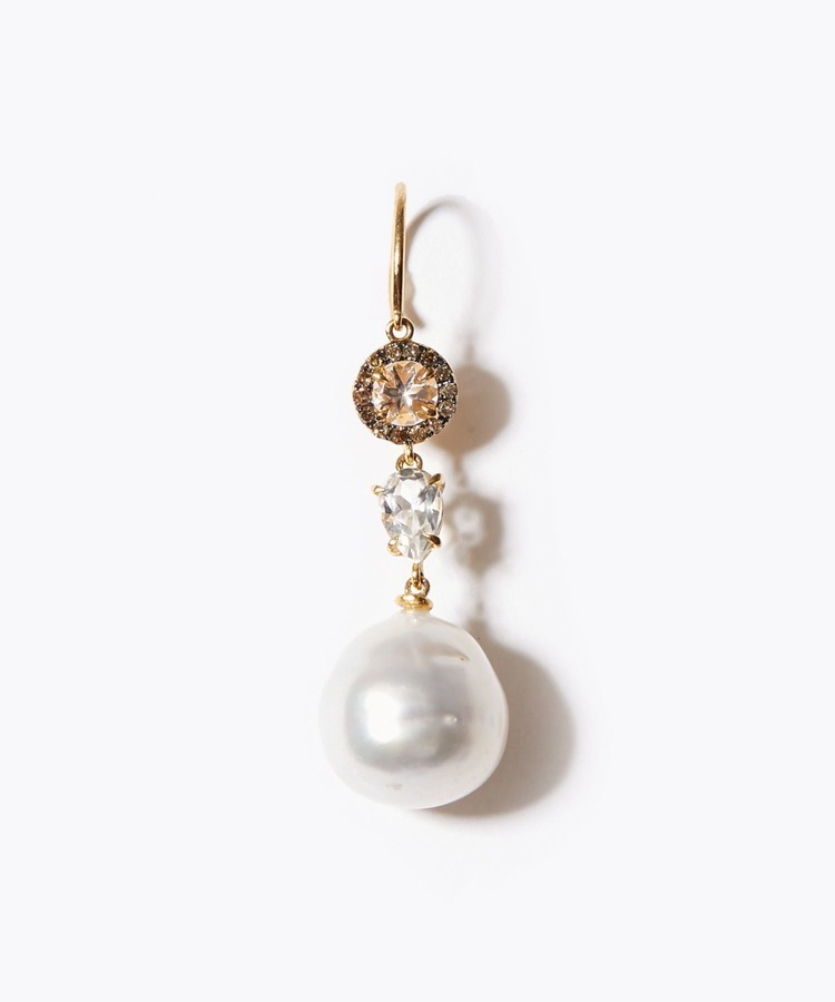 [elafonisi] morganite & white sapphires & South Sea pearls single pierced earring