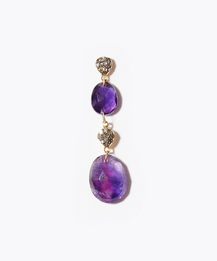 [elafonisi] Christmas limited amethyst pave drops single pierced earring