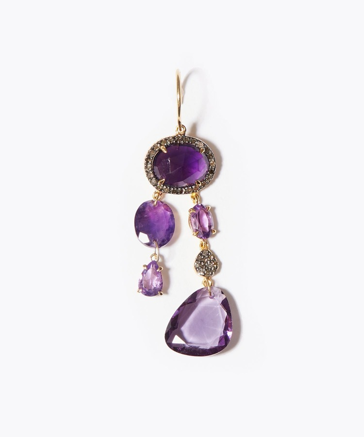 [elafonisi] Christmas limited amethyst pave chandelier single pierced earring