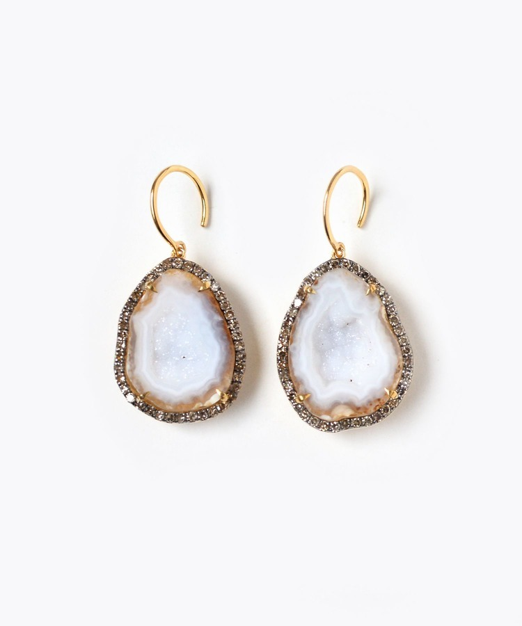 [elafonisi] Christmas limited geode pave diamonds pierced earring