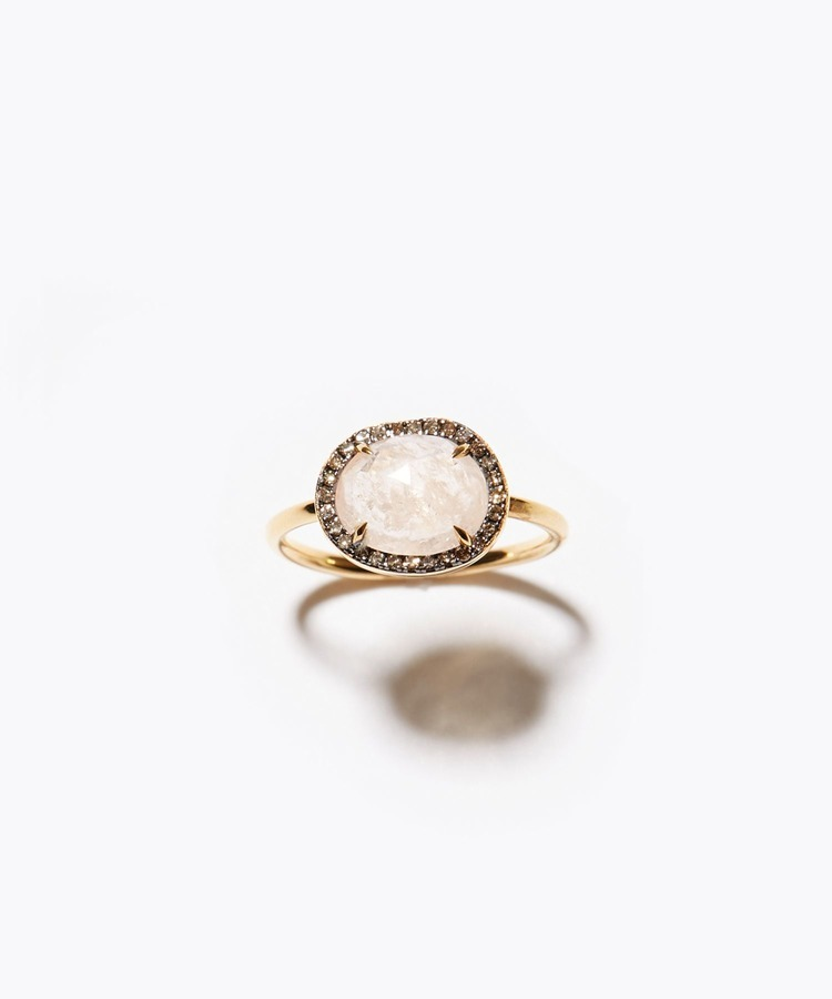 [elafonisi] morganite pave diamond ring