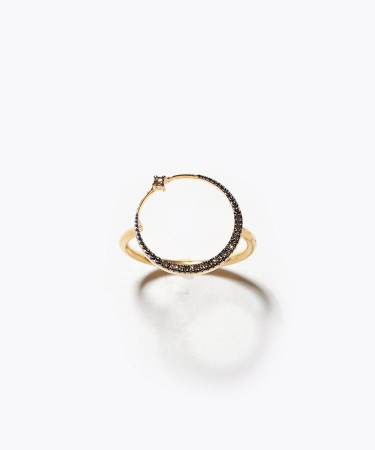 [selene] new moon circle pave diamond ring