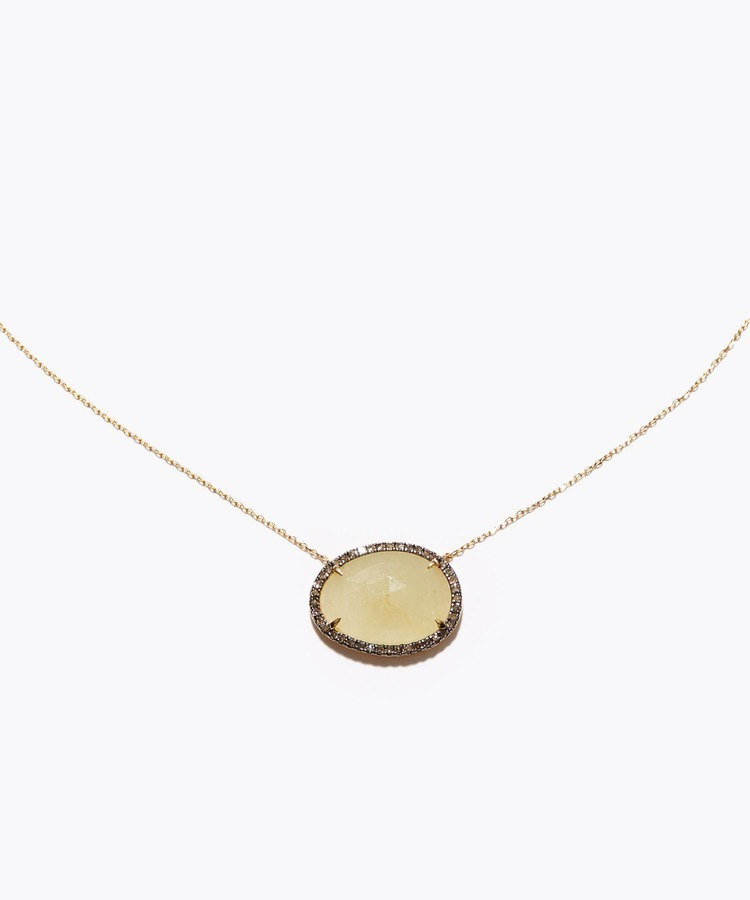 [elafonisi] yellow sapphire Pave diamonds necklace