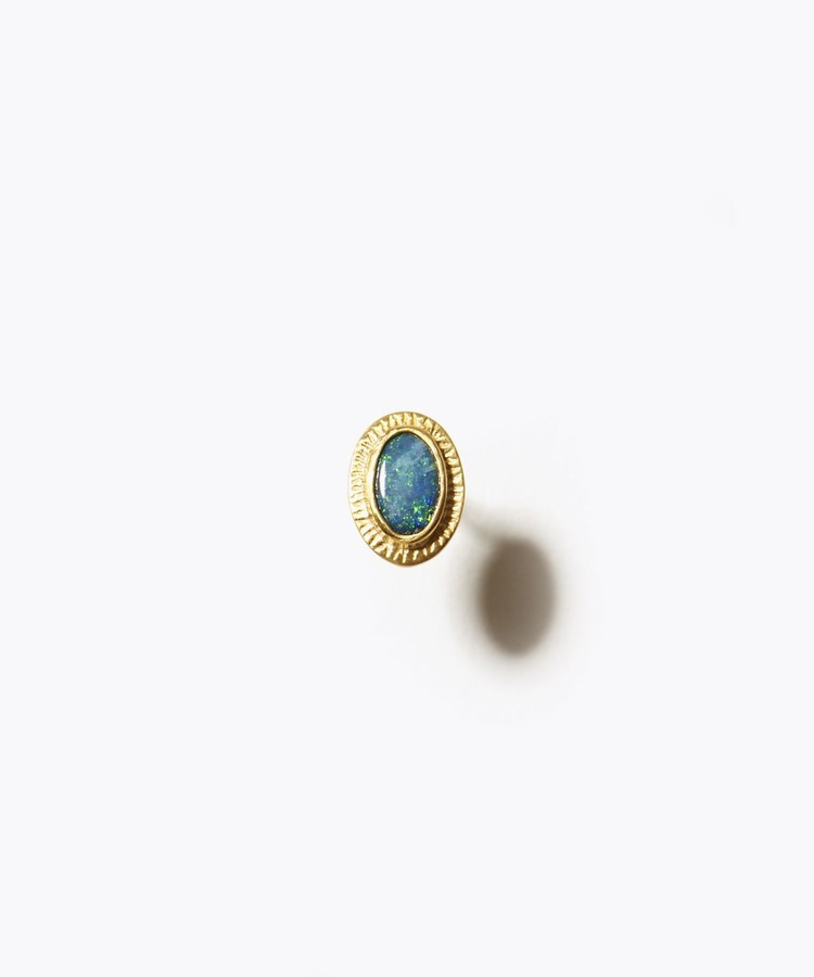 [eutopia] 【2021Spring Limited】 K10 boulder opal ancient texture stud single pierced earring