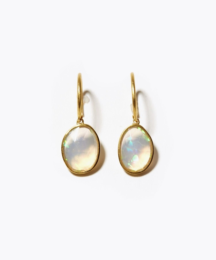 [eutopia] K10 white opal swing pierced earring