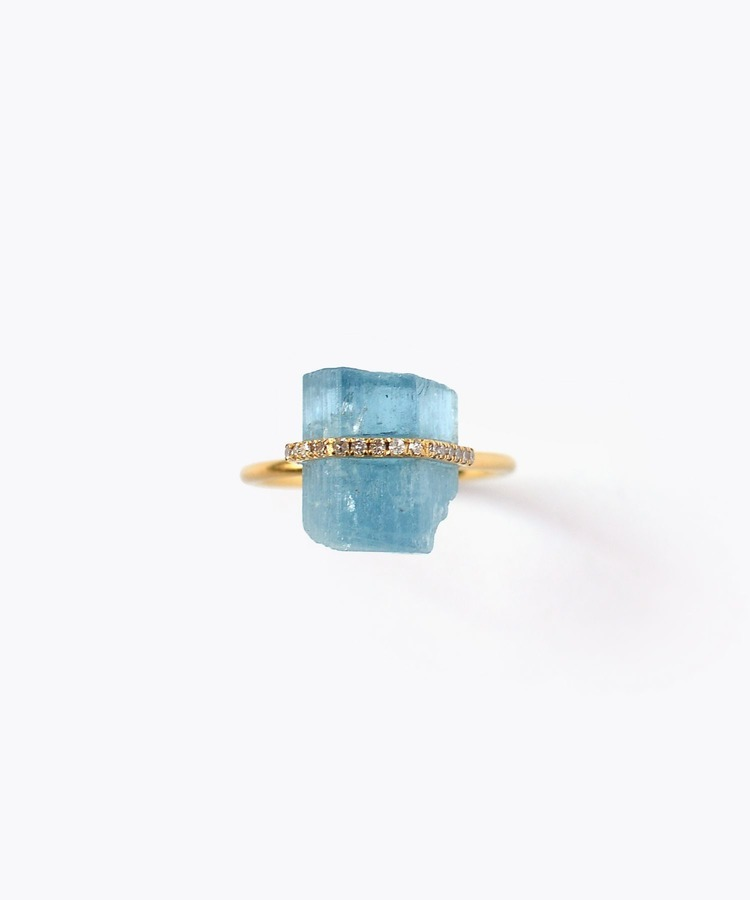 [raw beauty] 【2021Spring Limited】 K10 pencil aquamarine pave diamond vertical ring