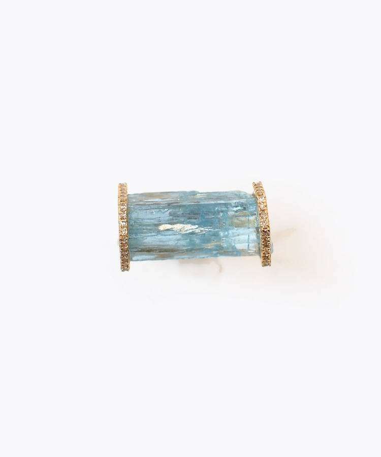[raw beauty] 【2021Spring Limited】 K10 pencil aquamarine pave diamondhorizontalring