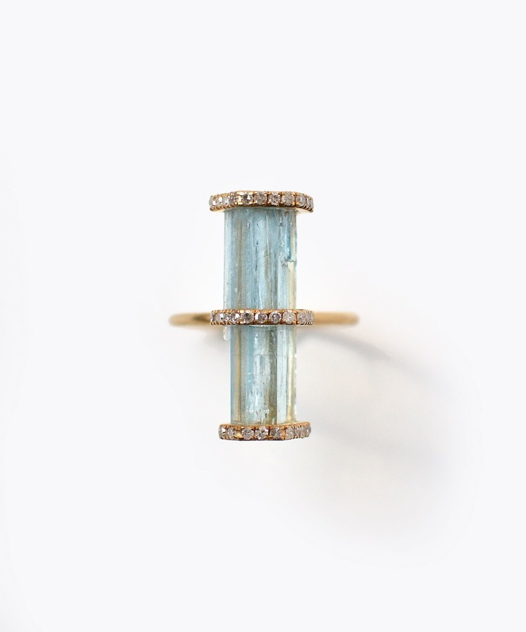 [raw beauty] 【2021Spring Limited】 K10 pencil aquamarine pave diamond triple vertical ring