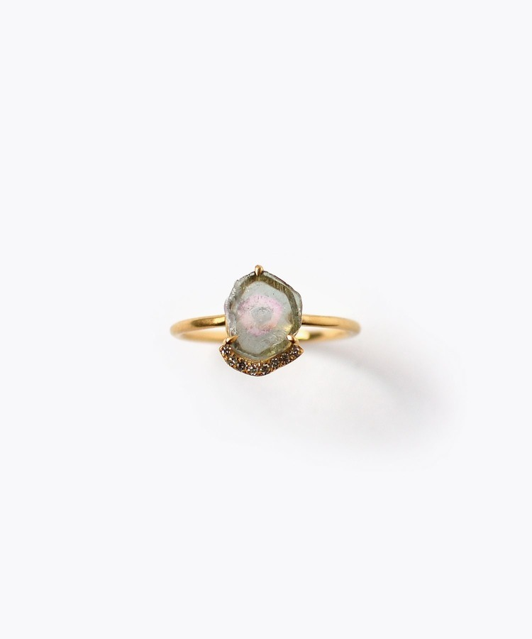 [eutopia] K10 watermelon tourmaline pave diamond ring