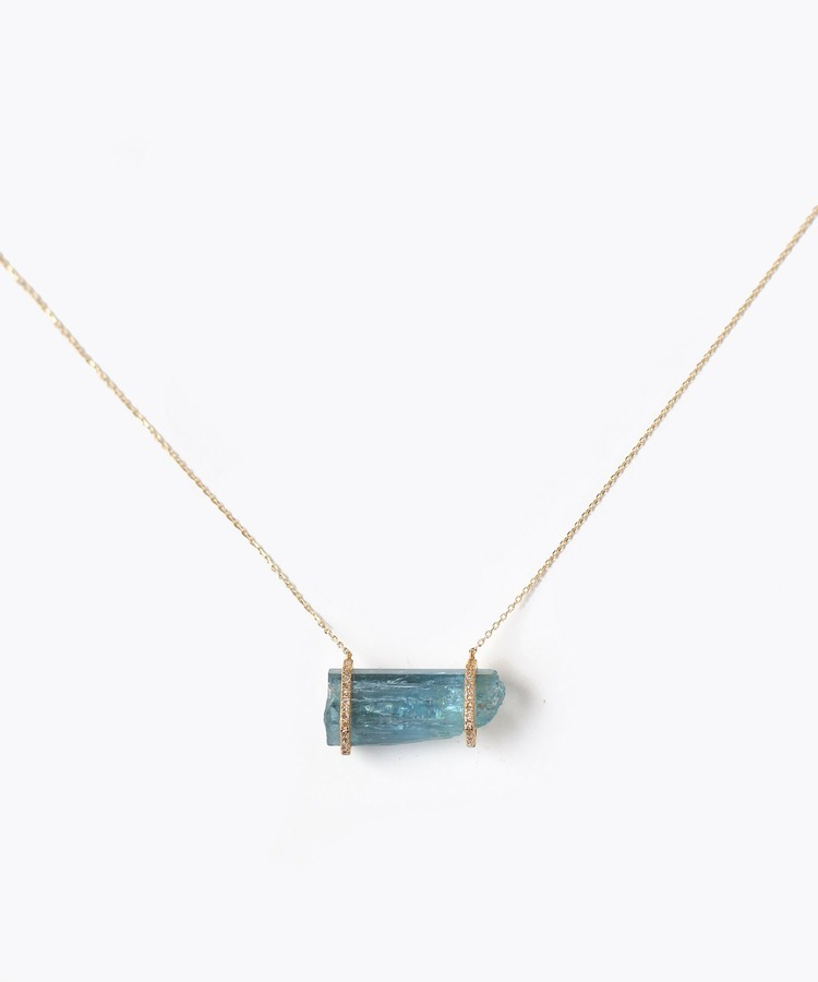 [raw beauty] 【2021Spring Limited】 K10 pencil aquamarine pave diamondhorizontalnecklace