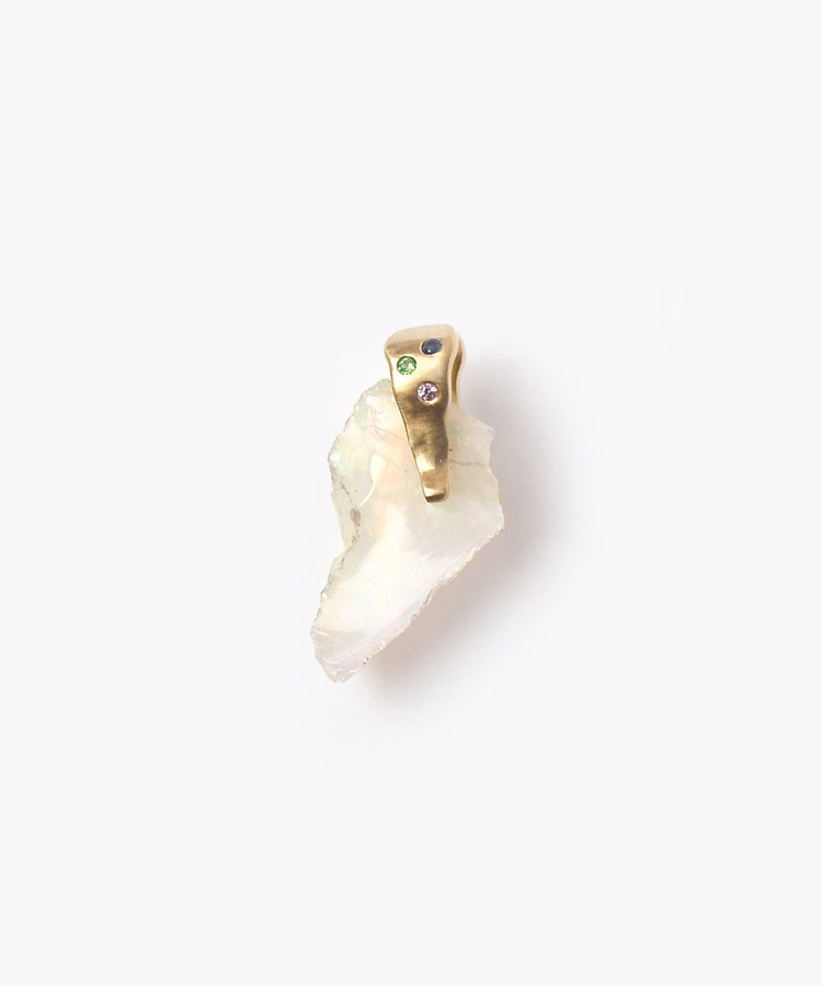 [raw beauty] 【2021Spring Limited】 K10 rough white opal multi pave charm