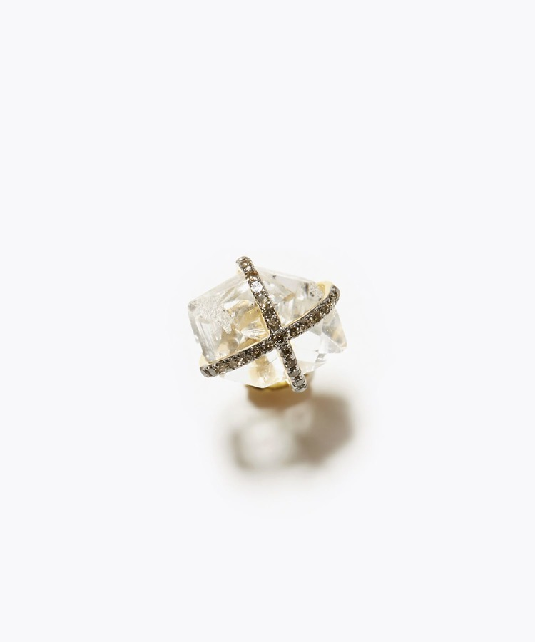 [elafonisi] 【2021 Spring Limited】 herkimer diamond pave diamond studs single pierced earring