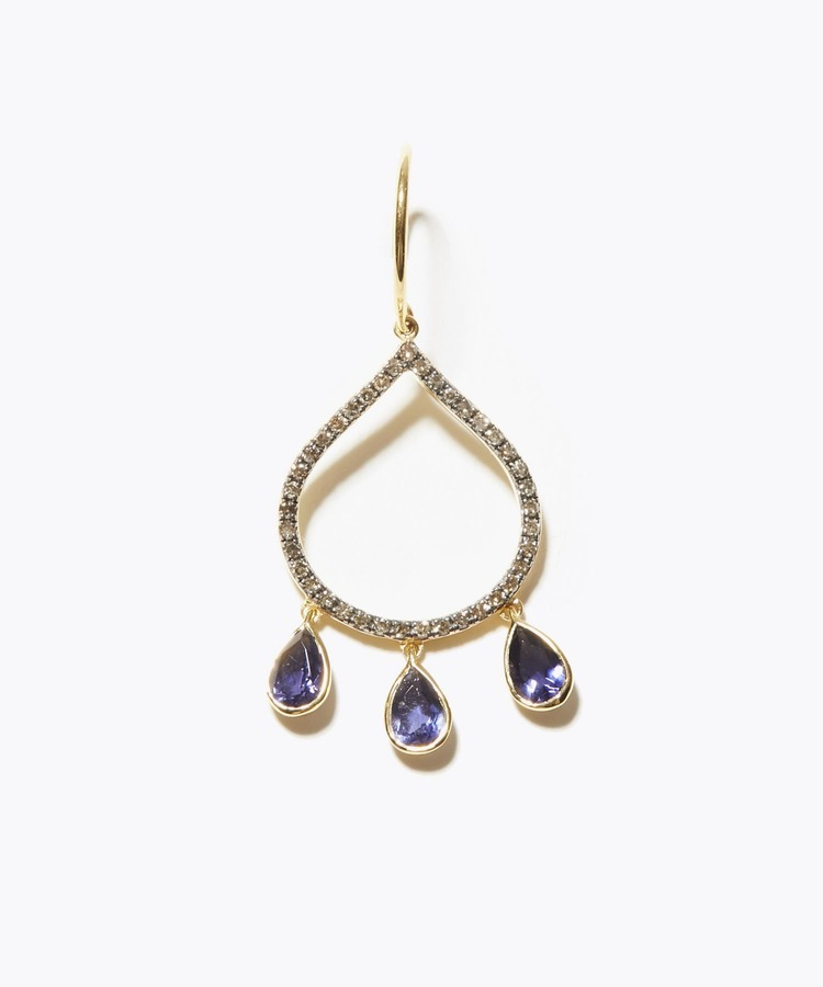 [lotus] tanzanite petal chandelier single pierced earring