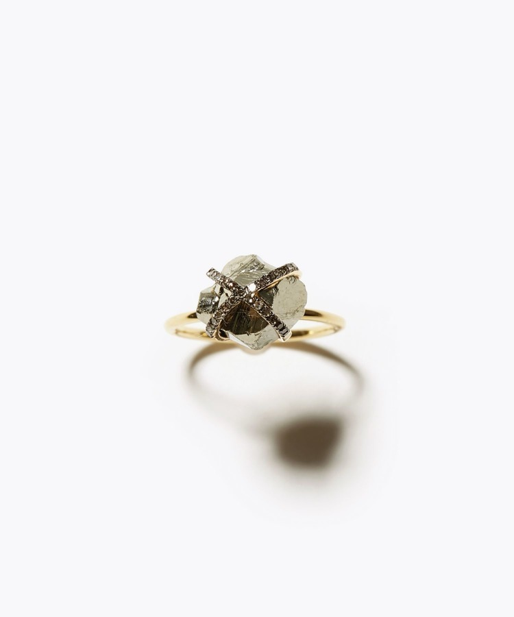 [elafonisi] 【2021 Spring Limited】 rough pyrite pave diamond ring