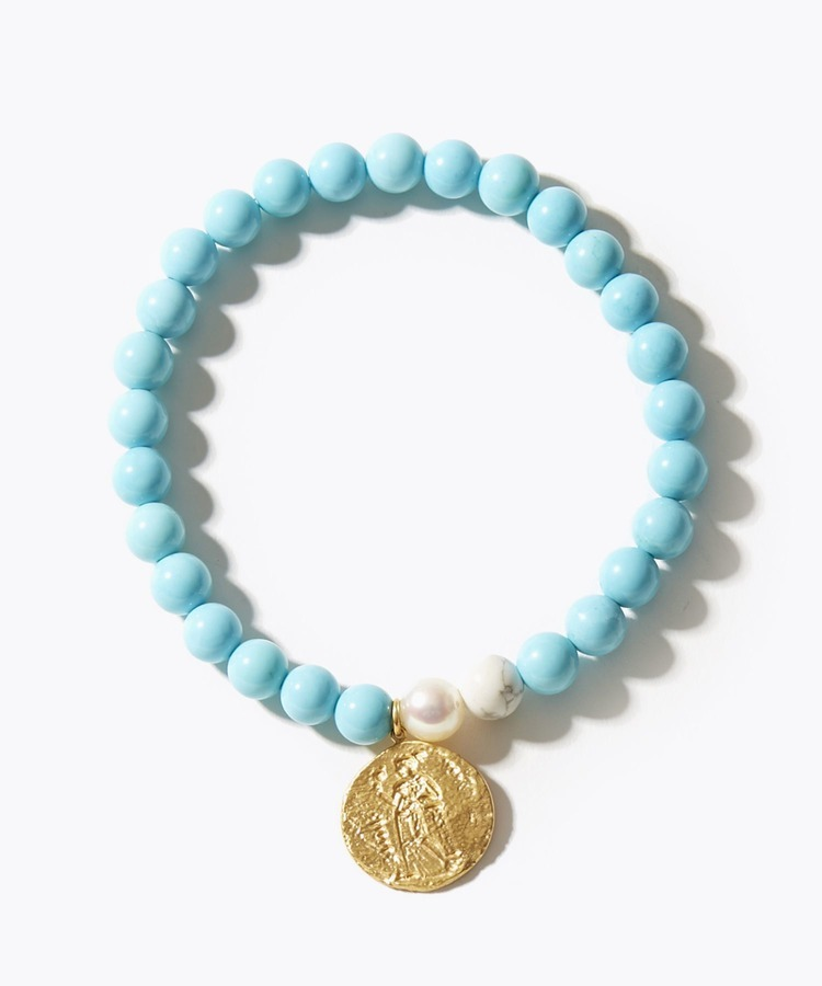 [amulette] [a talisman for courage and prosperity] turquoise GREEK coin bracelet