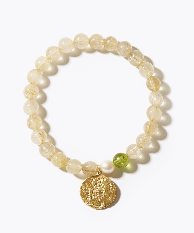 [amulette] [for money and a glittering fortune] gold rutilated quartz GREEK coin bracelet