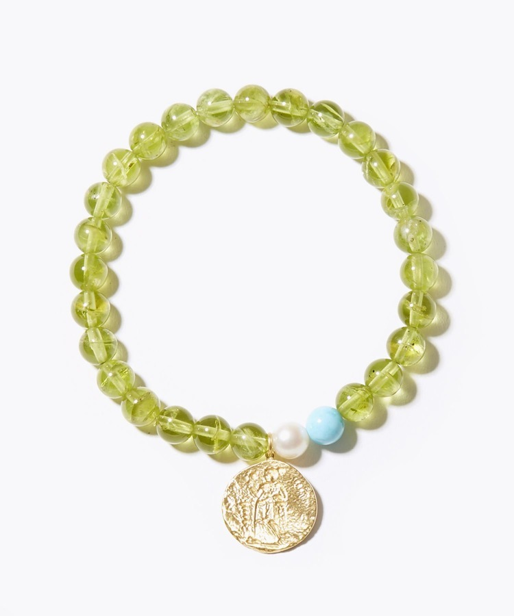 [amulette] [a shining light of hope] peridot GREEK coin bracelet