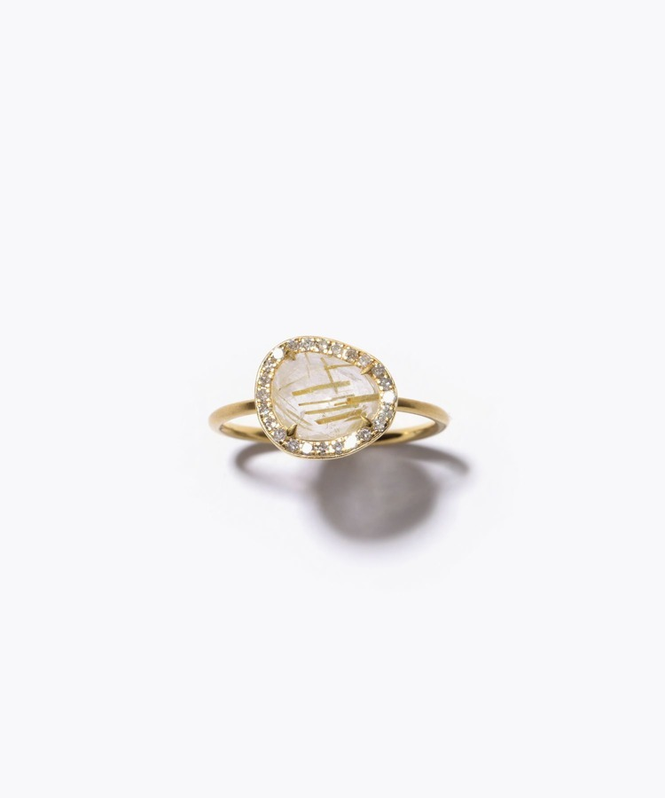 [raw beauty] K10 rutile quartz pave diamond ring